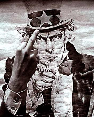 [Photo giving the 'Finger' to Uncle Sam]