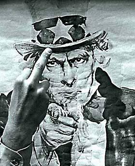 [Picture of a Finger to a 60's  Uncle Sam, 1969]
