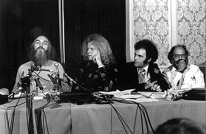 Photo- Baba Ram Dass, Ken Kelly, Jerry Rubin and Alan Ginsberg Press Conference re Tim Leary's credibility